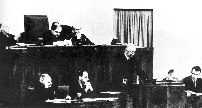 December 11, 1939. Delegate of Finland Rudolf Holsti speech in front of the League of Nations General Assembly