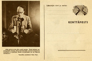 1941 год. Президент Финляндии Ристо Рюти выступает по радио 26 июня 1941 года. Карточка полевой почты