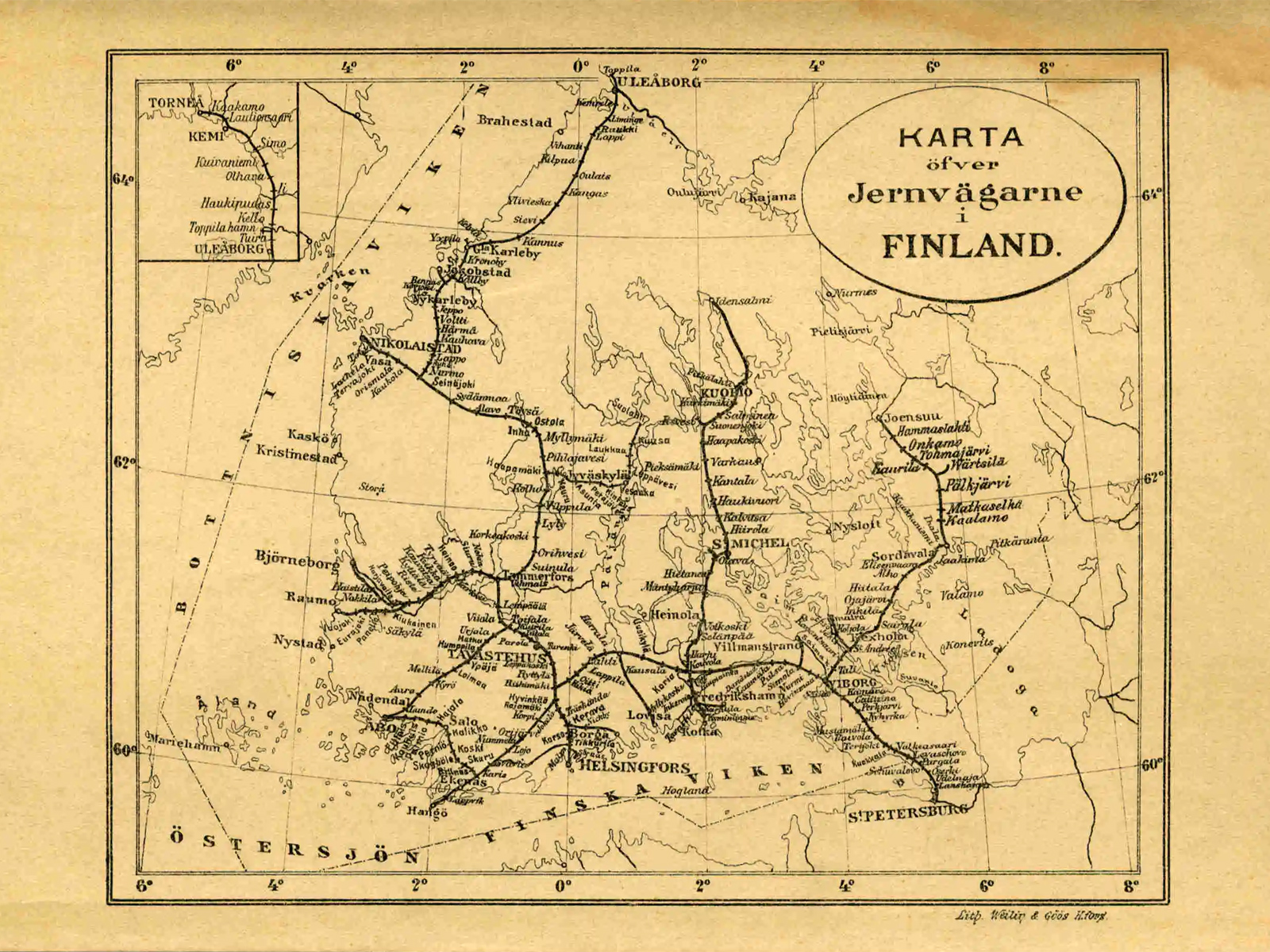 1900's. The Finnish railway map