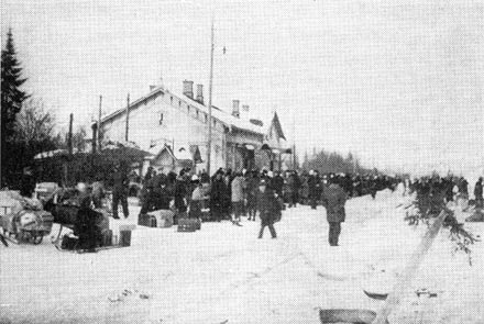 March 1940. Sortavala. Railway station. Evacuation