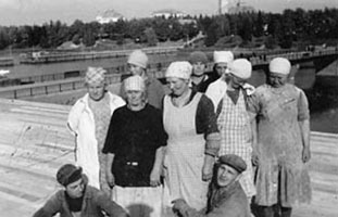 1930's. Sortavala. The construction of new building of East-Karelian co-operative company