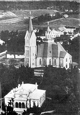 1930's. Sortavala. Lutheran church and town hall