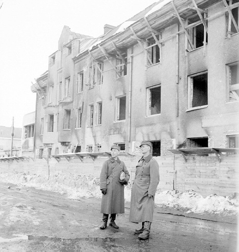 Early 1940's. Sortavala. House destroyed during the bombing