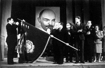 January 26, 1974. Deputy Chairman of the Council of Ministers of the USSR Ignaty Novikov presents the Order of Friendship between Peoples to Karelian ASSR