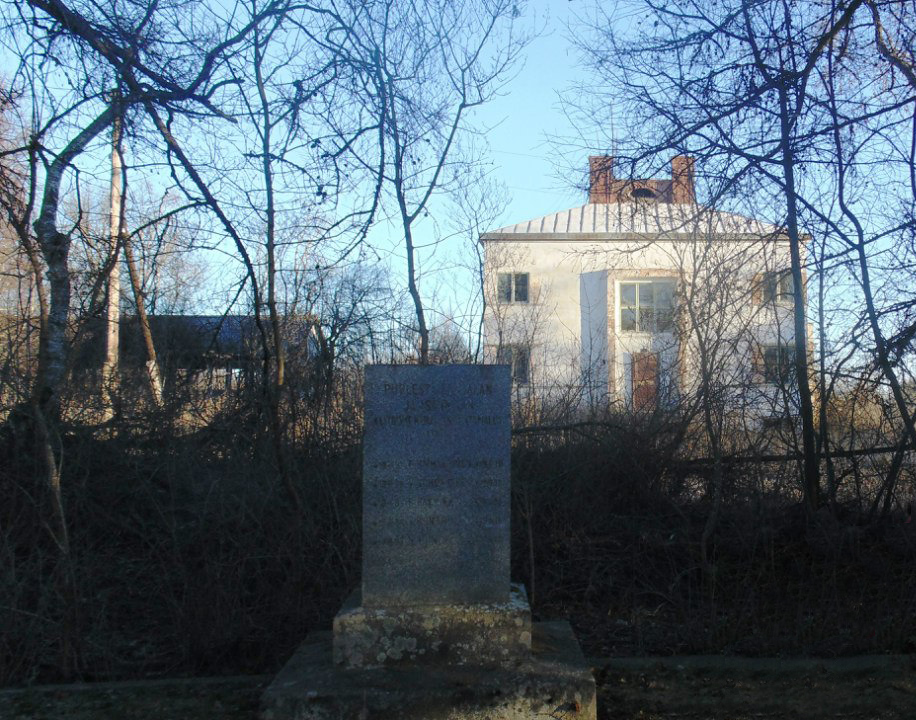November 26, 2013. Former Parish Hall and the common grave of the heroes of 1918