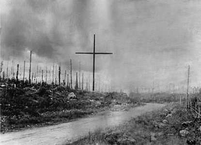 Early 1940's. Kollaa. The large wooden cross as monument