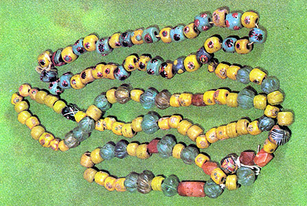 Necklace from cornelian and glass beads