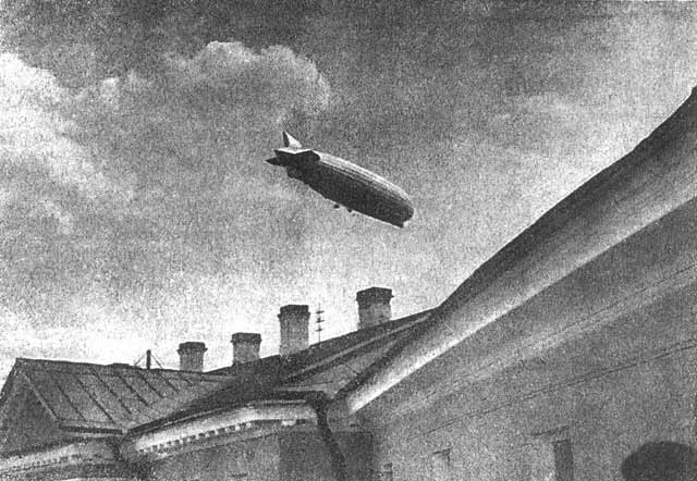 "July 26, 1931. The LZ-127 ""Graf Zeppelin"" over the building of the Central Executive Committee of the Karelian ASSR"